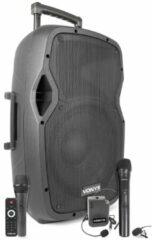 Zwarte Vonyx AP1200PA mobiele geluidsinstallatie met Bluetooth, handmicrofoon en headset