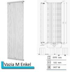 Plieger Venezia M designradiator enkel verticaal met middenaansluiting 1970x532mm 1417W zilver metallic 7253089