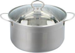 Zilveren Alpina Kitchen & Home Alpina Kookpan - RVS en Glas - Alle Warmtebronnen - 2,5 Liter - Ø 24 Cm