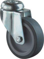 Grijze Kelfort Zwenkwiel met boutgat, grijs rubber wiel met glijlager, 65kg 100mm (Prijs per stuk)