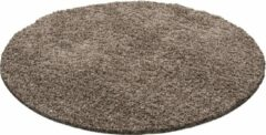 Decor24-AY Hoogpolig vloerkleed Dream - mocca - rond - 120x120 cm