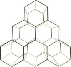 QUVIO Wijnrek voor 6 flessen wijn / Hexagon / Design wijnrek van staal / Zeshoekig - Goud