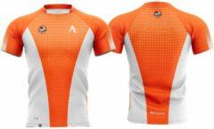 T-shirt Arawaza | dry-fit | oranje-wit | maat XS