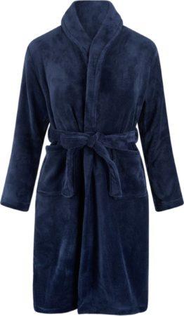 Afbeelding van Marineblauwe Relax Company Kinderbadjas - donkerblauw - fleece - meisjes & jongens - ochtendjas- maat 122/128