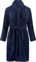 Marineblauwe Relax Company Kinderbadjas - donkerblauw - fleece - meisjes & jongens - ochtendjas- maat 122/128