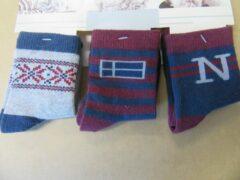 Blauwe 3pack sokken van dirkje , voor jongen 5-6 jaar