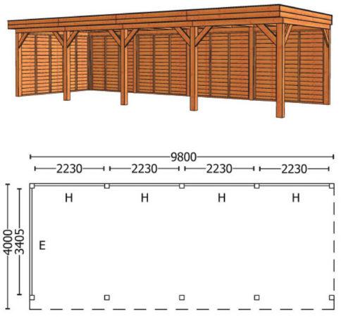 Afbeelding van Trendhout | Buitenverblijf Mensa L 9800 mm | Combinatie 2