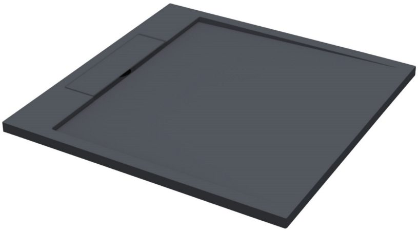 Afbeelding van Douche Concurrent Douchebak Decent Vierkant 90x90x3.5cm Solid Surface Mat Zwart