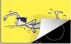 KitchenYeah Luxe inductie beschermer Zwemmen illustratie - 78x52 cm - Een illustratie van een persoon die aan het zwemmen is - afdekplaat voor kookplaat - 3mm dik inductie bescherming - inductiebeschermer