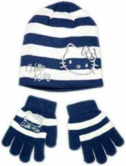 Hello Kitty muts en handschoenen winterset | 52cm | Blauw