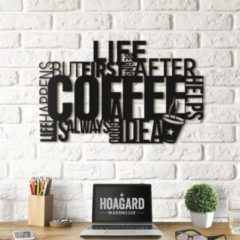 Zwarte BUT FIRST COFFEE | Inspirerende Muur Teksten | 69cm x 43cm | Inspirational Wall Art - Metalen Wanddecoratie - Hoagard | Keuken Muurdecoratie | Motiverende Wanddecoratie | MP-77