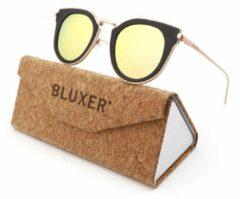 Bluxer® Zonnebril voor Heren en Dames Polaroid - Hippe Zonnebril Gepolariseerd - UV400 Lens - Roze Metaal - Ebony Wood - Roze Lens