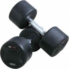Zwarte LifeMaxx Vaste rubberen dumbbellset (2 stuks per set) - 28kg
