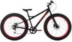 KS Cycling Herren Fatbike Mountainbike, 26 Zoll, 6 Gang-Shimano Kettensch, schwarz-rot, »SNW2458«