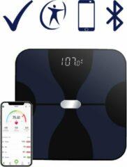 Blauwe Rision Weegschaal – Smart Personenweegschaal – Slimme Weegschaal Met App – BMI – Vetpercentage - Multifunctioneel - Zwart