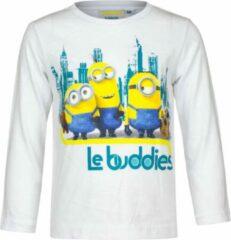 Minions Minion shirt met lange mouw - Le Buddies - wit - maat 98/104 (4 jaar)