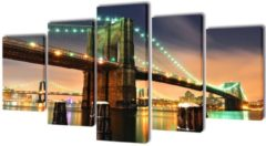 VidaXL Canvas muurdruk set Brooklyn Bridge 200 x 100 cm