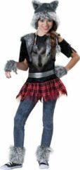 Zwarte Character Wolf kostuum voor meisjes - Premium - Verkleedkleding - 152/158