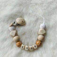 Beige Babybeads - Speenkoord - Neutrale kleurtjes met Giraffeprint