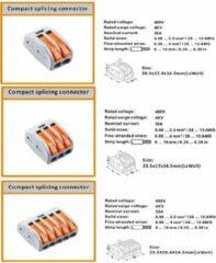 New Energy Move Verbindingsklem duo 1/1 polig Transparant/oranje 0,08 t/m 4mm2 kabel 32A 600V 13,5mmx29mmx12,5mm