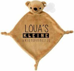 Bruine Livingstickers Knuffeldoekje beertje met naam kleine vriendinnetje-persoonlijk kraamcadeau