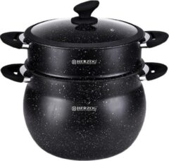 Zwarte Herzog HR-CP6M: 6L aluminium stone-coated couscous pot