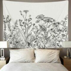 Ulticool - Natuur Bloemen Retro Vintage Zwart Wit - Wandkleed - 200x150 cm - Groot wandtapijt - Poster