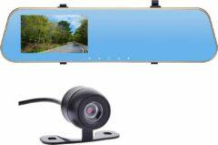 """Gouden Dutchdeals.nu Mirror Dashcam, 4.3""""inch dash cam FULL-HD voor & achter camera, inclusief achteruitrijcamera, binnenspiegel camera"""