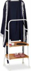 Witte Relaxdays dressboy kledingstandaard - verrijdbaar kledingrek - 2 etages - dress boy