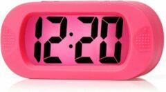 JustAnotherProduct JAP AP17 digitale wekker - Stevige alarmklok - Met snooze en verlichtingsfunctie - Beschermhoes van rubber - Roze