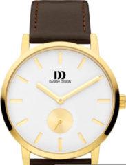 Gouden Danish Design watches edelstalen herenhorloge Tokyo Gold White Brown Large IQ15Q1219