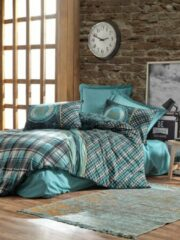 Lichtblauwe Cotton Box - Ranforce Enriko Dekbedovertrekset (100% Katoen) - 200X220 CM