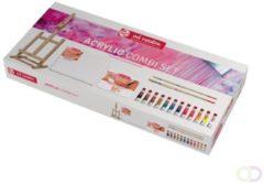 Royal Talens Acrylic set 12 kleuren 12 ml tubes acrylverf met penselen, doek, tafelezel en afscheurpalet