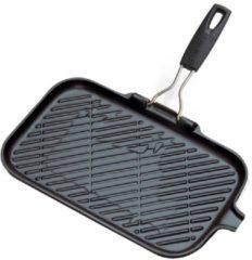 Zwarte Le Creuset Grillplaat Rechthoekig/ Inklapbare Greep Rechthoekig 36 × 20 cm - Zwart