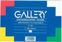 Gallery gekleurde systeemkaarten formaat 10 x 15 cm gelijnd pak van 100 stuks