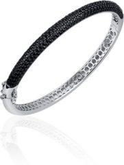 Jewels Inc. - Armband - Bangle Half Bol gezet met Zwart Zirkonia - 6mm Breed - Maat 68 - Gerhodineerd Zilver 925