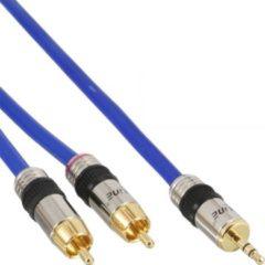 Blauwe InLine 3,5mm Jack - Tulp stereo audio kabel - 3 meter
