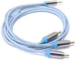Blauwe 1.5 Meter Vention RCA-kabel vergulde 2.5mm jack naar 3 RCA male naar male stereo audiokabel