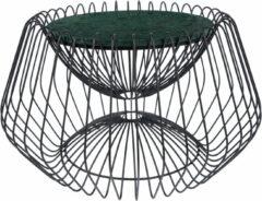 Kayoom Bijzettafel 'Malibu' Marmer en staal, 60cm, kleur zwart / groen