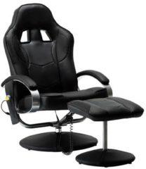 VidaXL Massagestoel elektrisch met voetenbankje kunstleer zwart