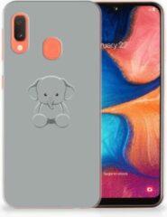 Grijze Samsung Galaxy A20e TPU Hoesje Baby Olifant