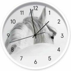 Grijze Dutch Sprinkles Klok White Horse, wit frame, zwarte wijzers