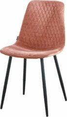 Troon collectie - Kuipstoel - Velvet Stoel - Roze - model Ariane - Kuipstoeltje - Gestikt ruitjespatroon - Stevige zwart metalen poten - Fluweel