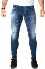 Jeans - LEYON Destroyed Denim Blauw - Spijkerbroek - Slim Fit - W33 L33