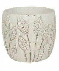 Groene NDT International Pot Nantes White 18x15 cm witte ronde bloempot voor binnen
