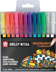 Witte Sakura roller Gelly Roll Moonlight, etui met 12 stuks in geassorteerde kleuren