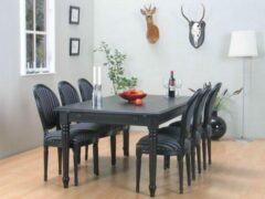 Hioshop Mozart zwarte eettafel met 6 zwarte stoelen Rococo.