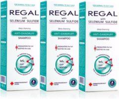 Rosa Impex 3 x REGAL DIEP REINIGENDE ANTI-ROOS Shampoo met Selenium Sulfide voor Normaal en Vet HaarANTI- ROOS Shampoo's voor Normaal en Vet Haar Set3 600ml