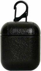 Sitna Airpods Leren Case Cover - Hoesje geschikt voor Apple Airpods Leer - Zwart