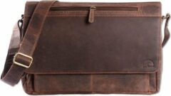 Wild Woodss WILD WOODS Leren Laptop Messenger Bag Unisex Schoudertas – 15,6 inch Laptoptas – Buffelleer - Vintage Donkerbruin